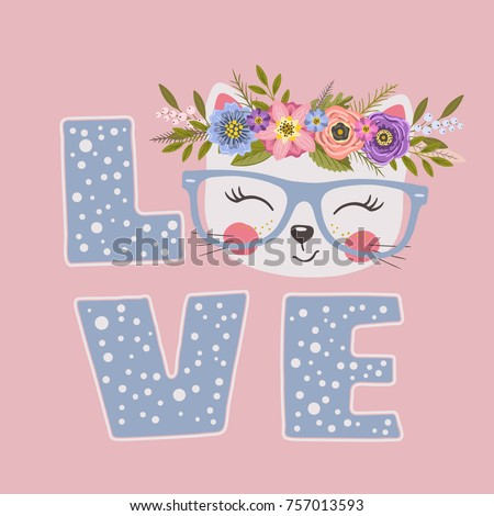 Cute cat girl with floral wreath. Love slogan. Vector illustration for print design