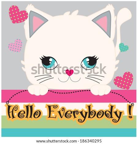 cute cat  hand draw animal
