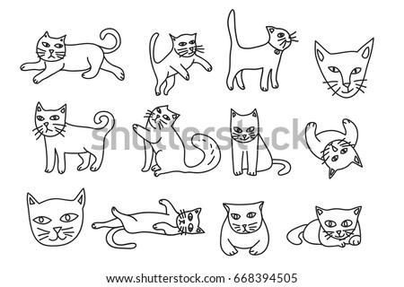 cute cat hand drawn icon vector