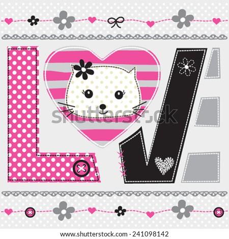 cute cat head love card vector