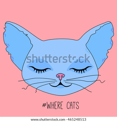 cute cat head with closed eyes