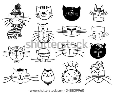 cute cat heads set in hand