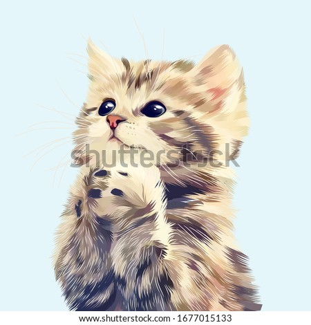 cute cat hopes vector with blue backround stock photo