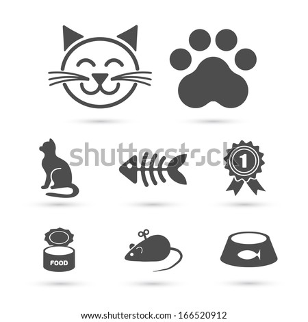 cute cat icon symbol set on