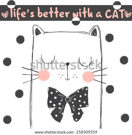 cute cat  illustration for