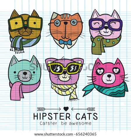 Stock Photo cute cat illustration series, portrait of cat hipster, hand drawn animal illustration,Set of stylish cats. Vector trendy hipster style for greeting card design, print, inspiration poster.