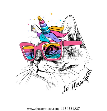 Cute Cat in a unicorn mask: rainbow glasses, mane, horn. So meowgical - lettering quote. Humor card, t-shirt composition, hand drawn style print. Vector illustration.