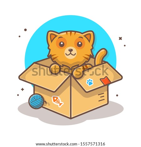 cute cat in box vector icon