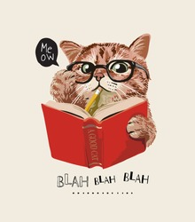 cute cat in glasses reading a book illustration
