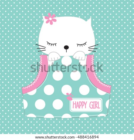 cute cat in the pocket on polka