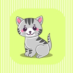 Cute cat, Little tiny gray striped kitten sitting. Characters. The concept of children's and educational books. Vector Illustration.