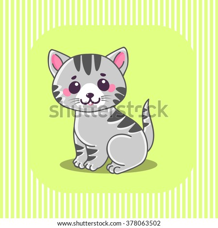 Cute cat, Little tiny gray striped kitten sitting. Characters. The concept of children\'s and educational books. Vector Illustration.