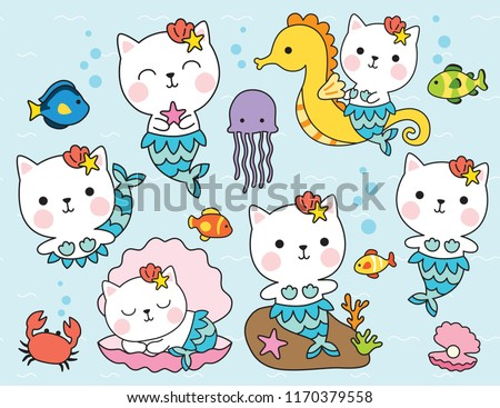 Stock Photo Cute cat mermaid character with fishes, seahorse, shell, and crab under the sea vector illustration.