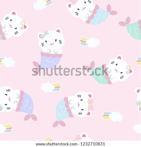 Cute cat mermaid decorated with rainbow seamless pattern on blue background like under the sea.