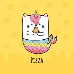 cute cat mermaid eating Pizza