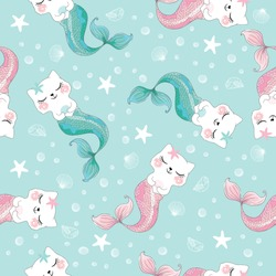 Cute cat mermaid seamless pattern for kids fashion artworks, children books, greeting cards, prints, walpapers.