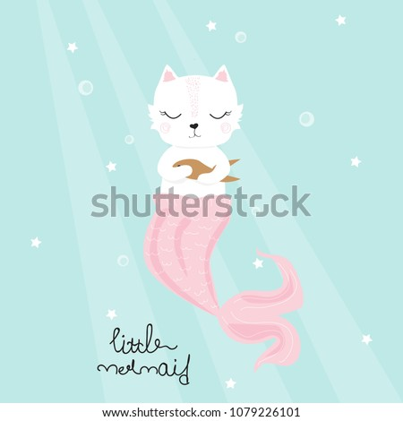 cute cat mermaid with golden