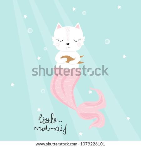 cute cat mermaid with golden