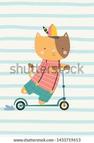 cute cat on a scooter vector