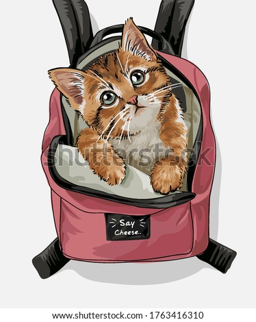 cute cat pink backpack illustration Photo stock ©