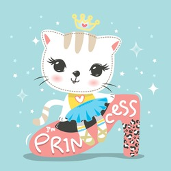 Cute cat princess cartoon sitting on pink shoe isolated on green background illustration vector.