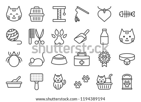 cute cat related icon such as cat litter box and toy, outline editable stroke