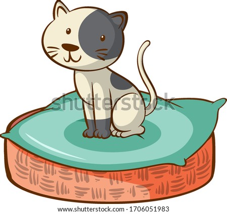 cute cat sitting in the basket