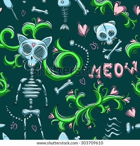 cute cat skeleton seamless