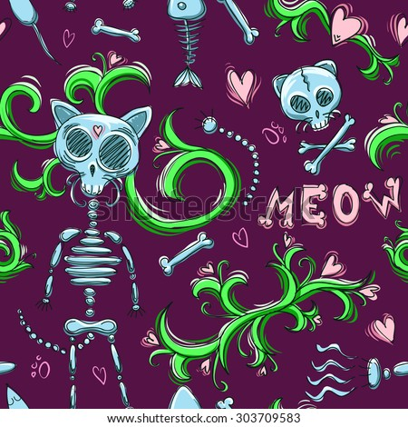cute cat skeleton seamless