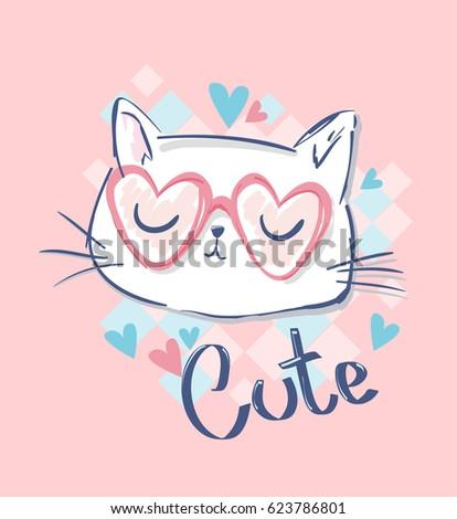 cute cat sketch vector