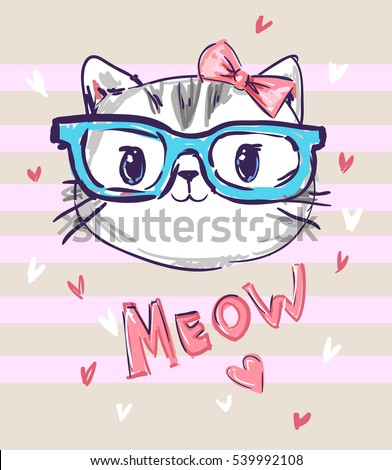 cute cat sketch vector