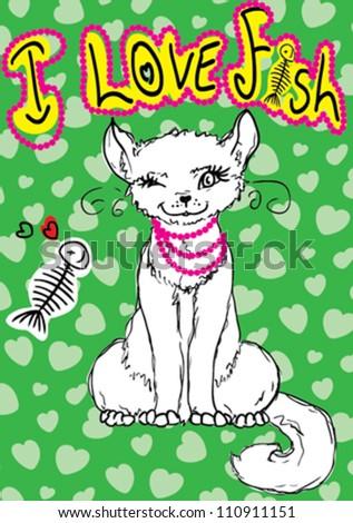 cute cat / T-shirt graphics / cute cartoon characters / cute graphics for kids / Book illustrations