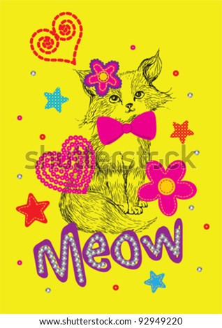 Cute Cat / T-shirt graphics / cute cartoon characters / cute graphics for kids / Book illustrations