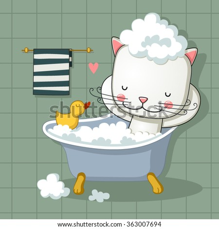 cute cat taking a bath