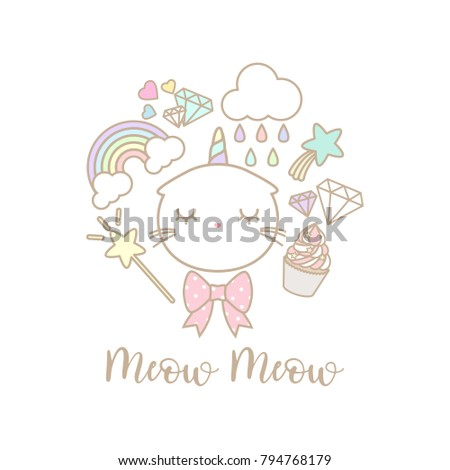 cute cat unicorn set on white