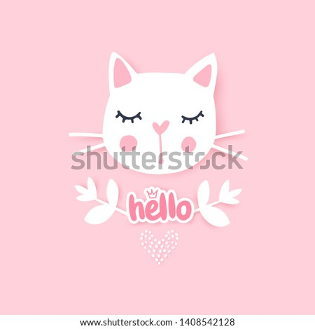 Cute cat vector illustration. Girly kittens. Fashion Cat's face. Cartoon animal. Kitty Baby girl. Funny character. Adorable greeting card.