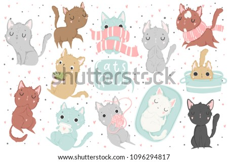 Cute cat vector set isolated illustration and lettering for children. Vector image. Perfect for nursery posters, patterns, party invitation, cards, tags etc