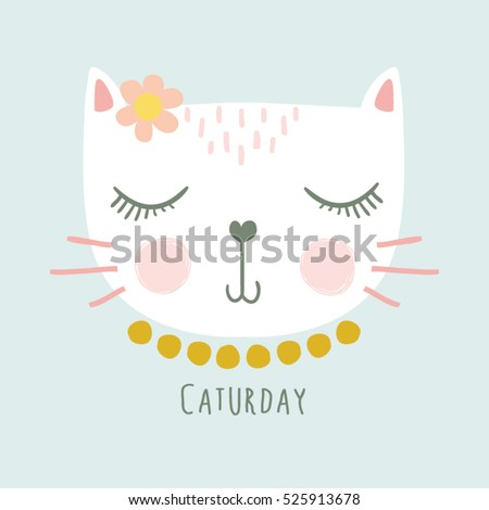 cute cat vectort shirt print