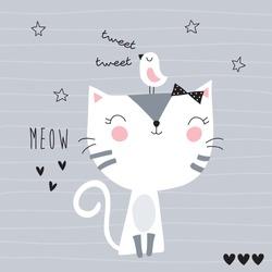 cute cat with bird vector illustration