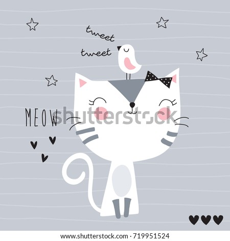 cute cat with bird vector illustration