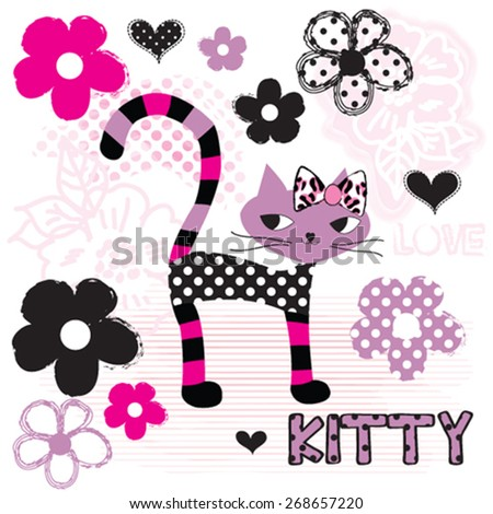 cute cat with flowers  t shirt