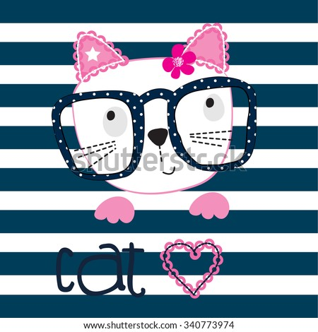 cute cat with glasses on