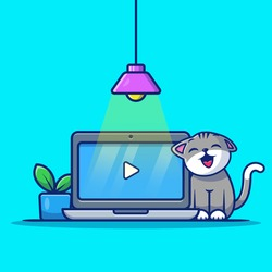 Cute Cat With Laptop And Plant Cartoon Vector Icon Illustration. Animal Technology Icon Concept Isolated Premium Vector. Flat Cartoon Style