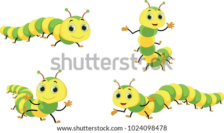 Cute caterpillar cartoon set