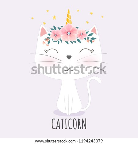 Cute caticorn head with flower crown.