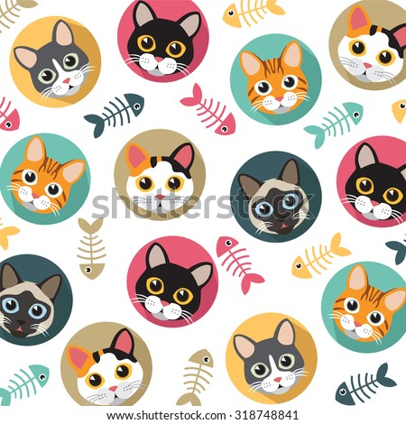 cute cats and fishbone vector