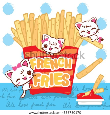 cute cats cartoon with french