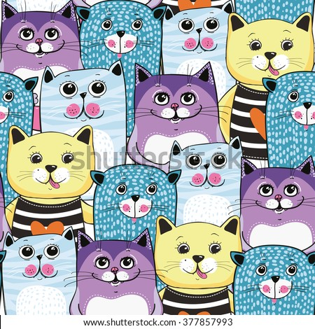 cute cats colorful seamless