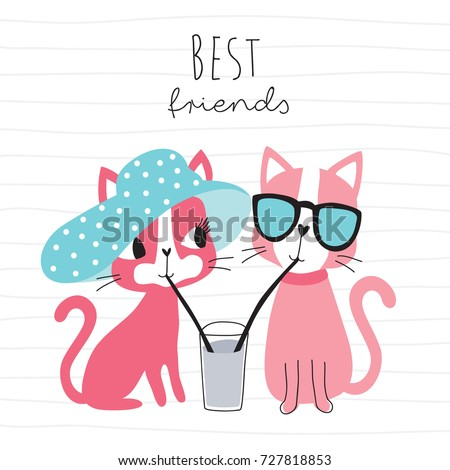 cute cats drinking a drink with
