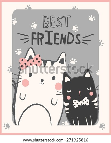 cute cats illustration for